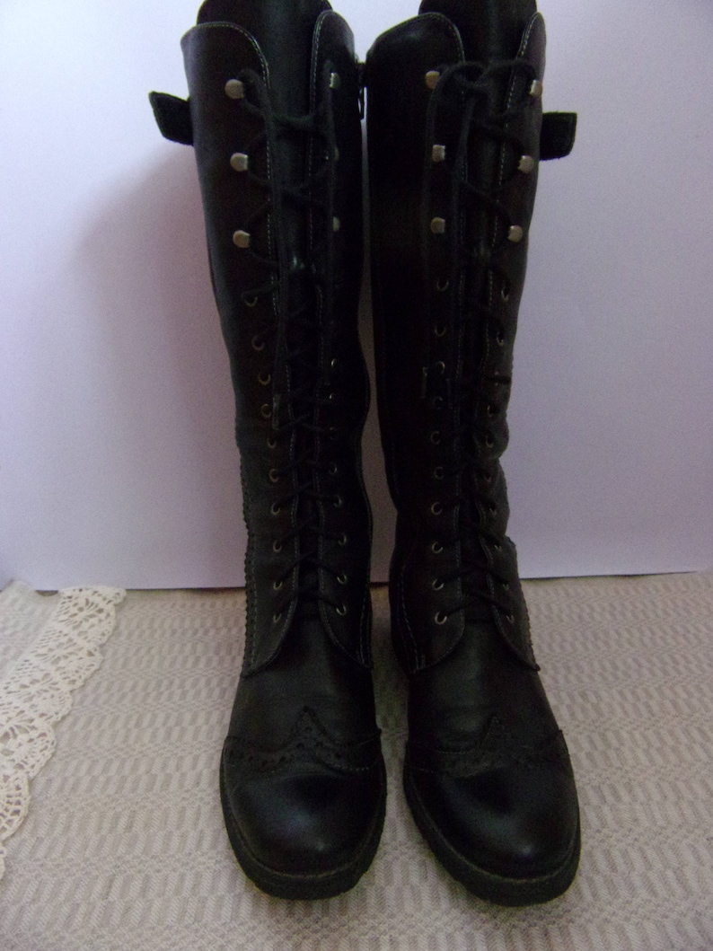 Vintage Women's BootsTamaris Leather Boots Black Genuine Leather BootsSpring Autumn BootsLace Boots Size EU 38UK 5