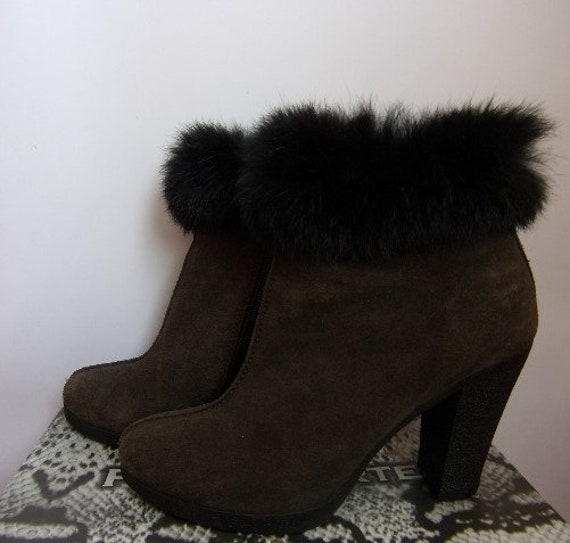 Boots Black With With Brown Boots Fur With EU 5 Ankle Size Women's 38 UK Zipper Boots Vintage Artificial Boots Suede Dark Heel zvXn80