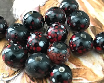 Vintage Glossy Japanese Black Beads with White Red Speckles (14 beads)