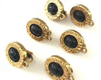 Vintage Egyptian Revival Scarab Clip On Earring Findings