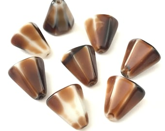 Vintage Givre Mocha and Iced White Angled Cone Glass Beads