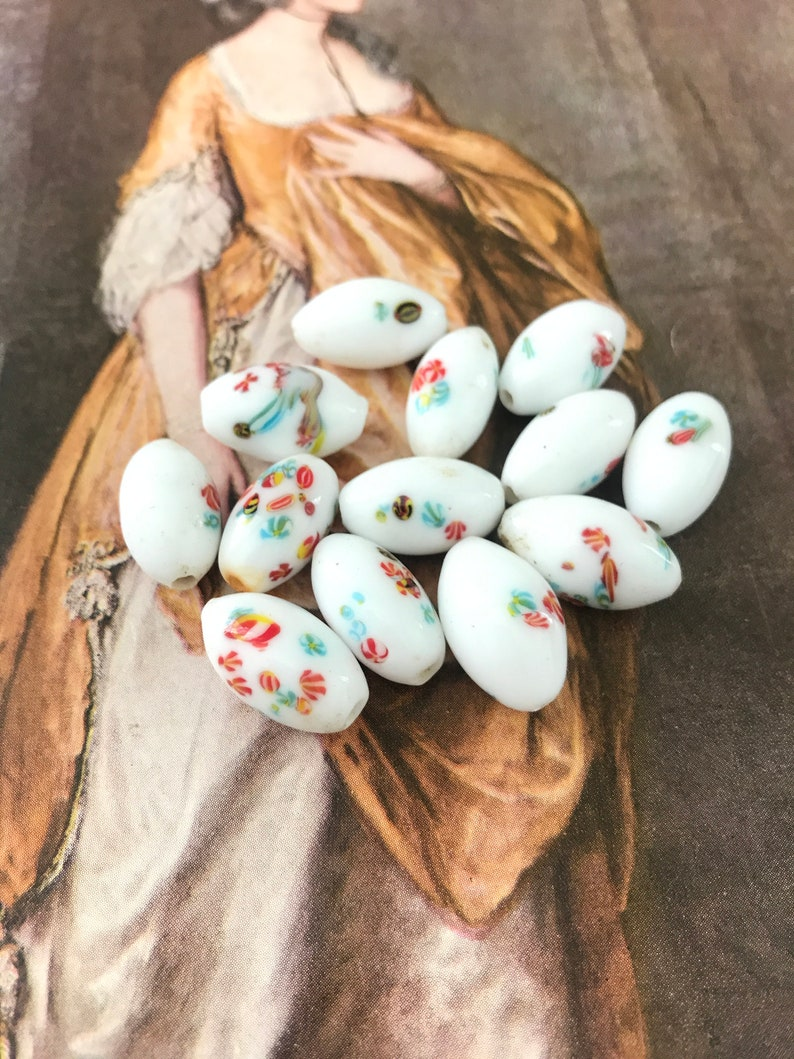 Vintage Czech Glass Beads Opaque White With Flowers 25 beads