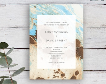 Painterly Printable Contemporary Abstract Wedding Invitation