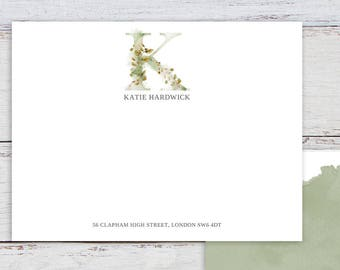 Personalised Stationery, Printable, WHIMSICAL MONOGRAM K, Monogram Stationery, Watercolour, Thank You Notes, Printable Template