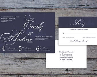 FLAMBOYANT SCRIPT Suite - Printable Template Wedding Invitation & RSVP - Classic Calligraphy Design by Flamboyant Invites