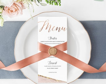 Rose Gold Geode Printable Wedding Menu, Instant Download
