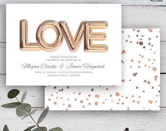 Love Balloon Printable Rose Gold Balloon Invitation & White