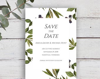 Autumn Berry Printable Save the Date Invitation with Watercolour Blackberry Stems & Leaves
