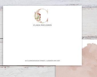 Whimsical Monogram C Printable Correspondence Card / Thank You Card with Watercolour Monogram