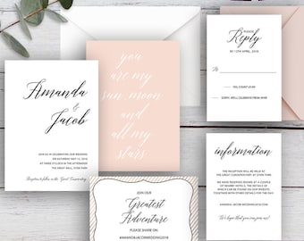 LOVE POEM, DIY Printable Invitation Suite Templates, White, Black & Pink