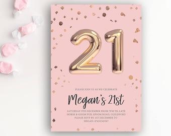21st Birthday Printable Rose Gold Balloon Invitation & Pink