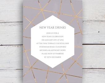Geo Printable Gold Geometric and Watercolour Party Invitation - Elephant Grey