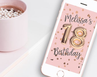 18th Birthday Rose Gold Balloon Snapchat Geofilter - Pink & Rose Gold