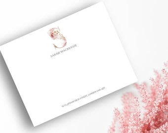 Whimsical, Monogram S, Printable Correspondence Cards / Thank You Cards with Watercolour Monogram, Pink