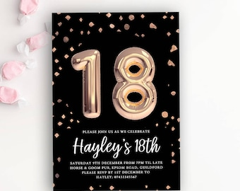 18th birthday invitations etsy 18th birthday party rose gold balloon printable invitation template 18th birthday invitation foil balloon invite rose gold and black filmwisefo