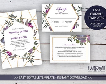 Muted Floral DIY Printable Invitation Suite Templates, Floral, Gold Geometrics