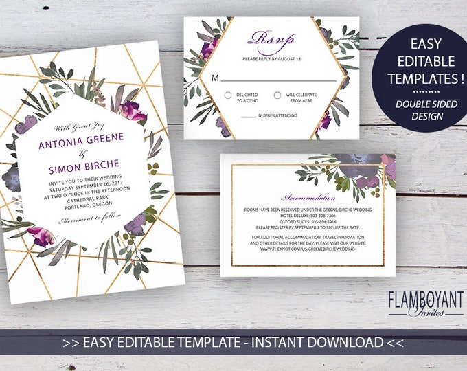 Featured listing image: Muted Floral DIY Printable Invitation Suite Templates, Floral, Gold Geometrics