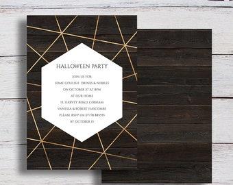 Geo Printable Gold Geometric and Dark Wood Halloween Party Invitation