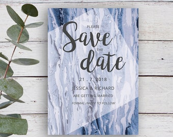 Strata Printable Save the Date Invitation, Blue