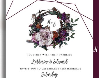 Boho Wreath Flower & Feather Printable Invitation