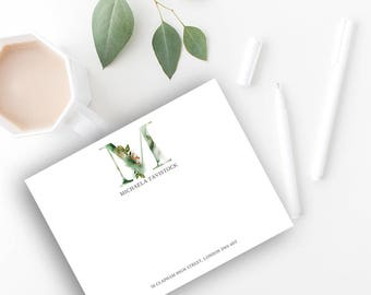 Whimsical Monogram M Printable Correspondence Card / Notecard with Watercolour Monogram, Green