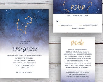 Written in the Stars Printable Invitation Suite, Aries & Aquarius