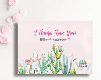 Llama Love Will You Be My Bridesmaid Printable Invitation