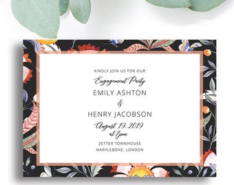 Papillon Printable Party Invitation with colourful florals, Black
