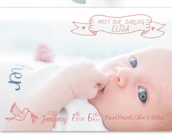 Joy Printable Birth Announcement with Hand Drawn Details in Coral Pink for a Baby Girl or Boy