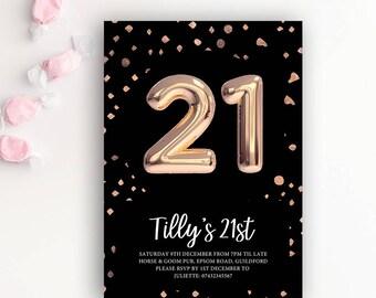 21st Birthday Printable Rose Gold Balloon Invitation & Black