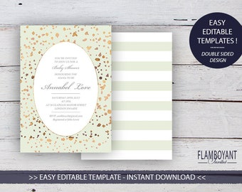 CONFETTI Suite - Baby Shower Invitation - Editable Template - Gold & Rose Gold-Effect Confetti - Printable - Instant Download