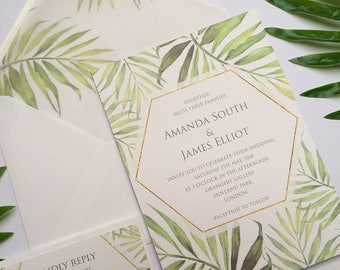 COCO PALM Suite - Invitation, RSVP & Details Card - Editable Templates - Tropical Palm Print  - Printable - Instant Download