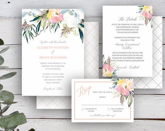 SUMMER ROSE Suite - Invitation, RSVP & Details Card - Editable Templates - Summer Florals  - Printable - Instant Download