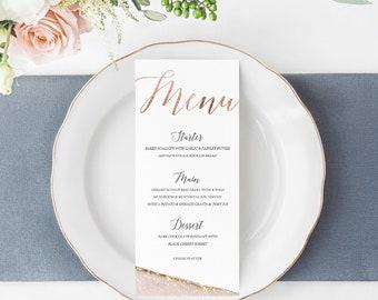 Rose Gold Geode Printable Wedding Menu, Instant Download