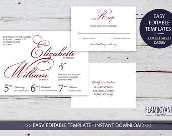 FLAMBOYANT SCRIPT Suite Cabernet - Printable Template Wedding Invitation & RSVP Card - Modern Calligraphy Style by Flamboyant Invites