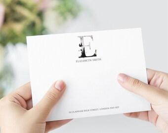 Whimsical Monogram E Printable Correspondence Cards/ Thank You Cards with Watercolour Monogram