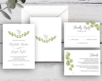 FRESH GREENERY, DIY Printable Invitation Suite Templates, Watercolour Eucalyptus Leaves
