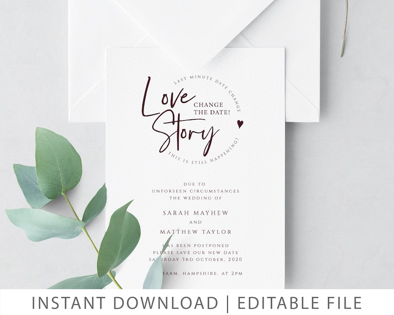 Change the Date Card Wedding Date Change Wedding Postponement Change Our Date Love Story Template CHANGE THE DATE Instant Download