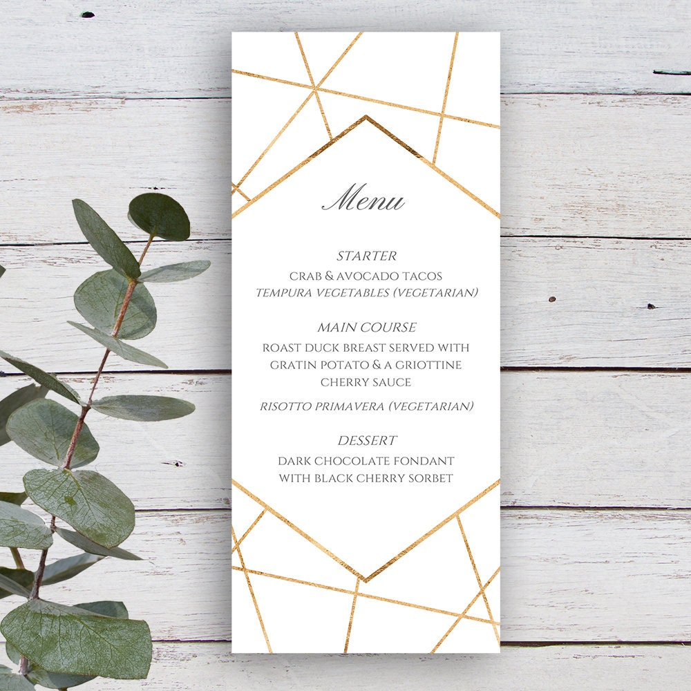 Facets Printable Menu Template, White with Gold Geometrics