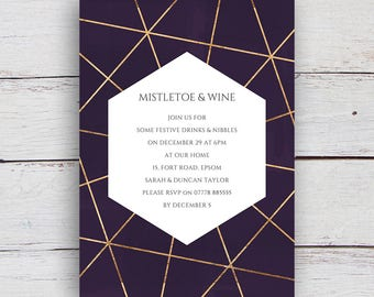 Geo Printable Gold Geometric and Watercolour Party Invitation - Deep Purple