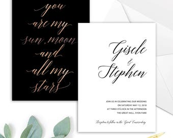 LOVE POEM, DIY Printable Invitation Template,  Rose-Gold & Black