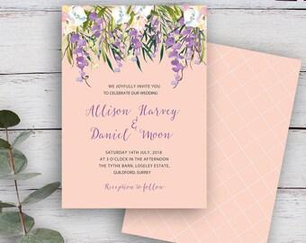 FLORAL CASCADE, DIY Printable Invitation Template, Watercolour Florals & Foliage, Blush Pink