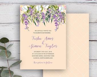 FLORAL CASCADE, DIY Printable Invitation Template, Watercolour Florals & Foliage, Buttermilk