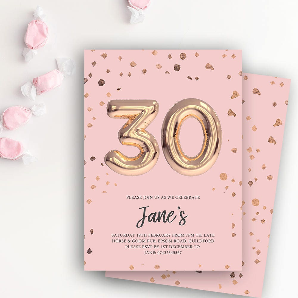 30th birthday printable rose gold balloon invitation pink
