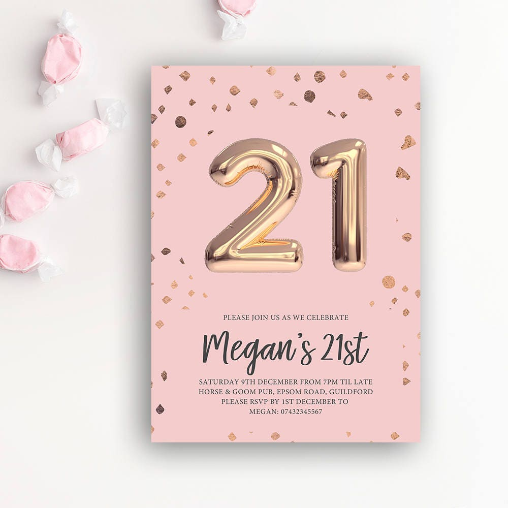 21st Birthday Printable Invitation Rose Gold Balloon
