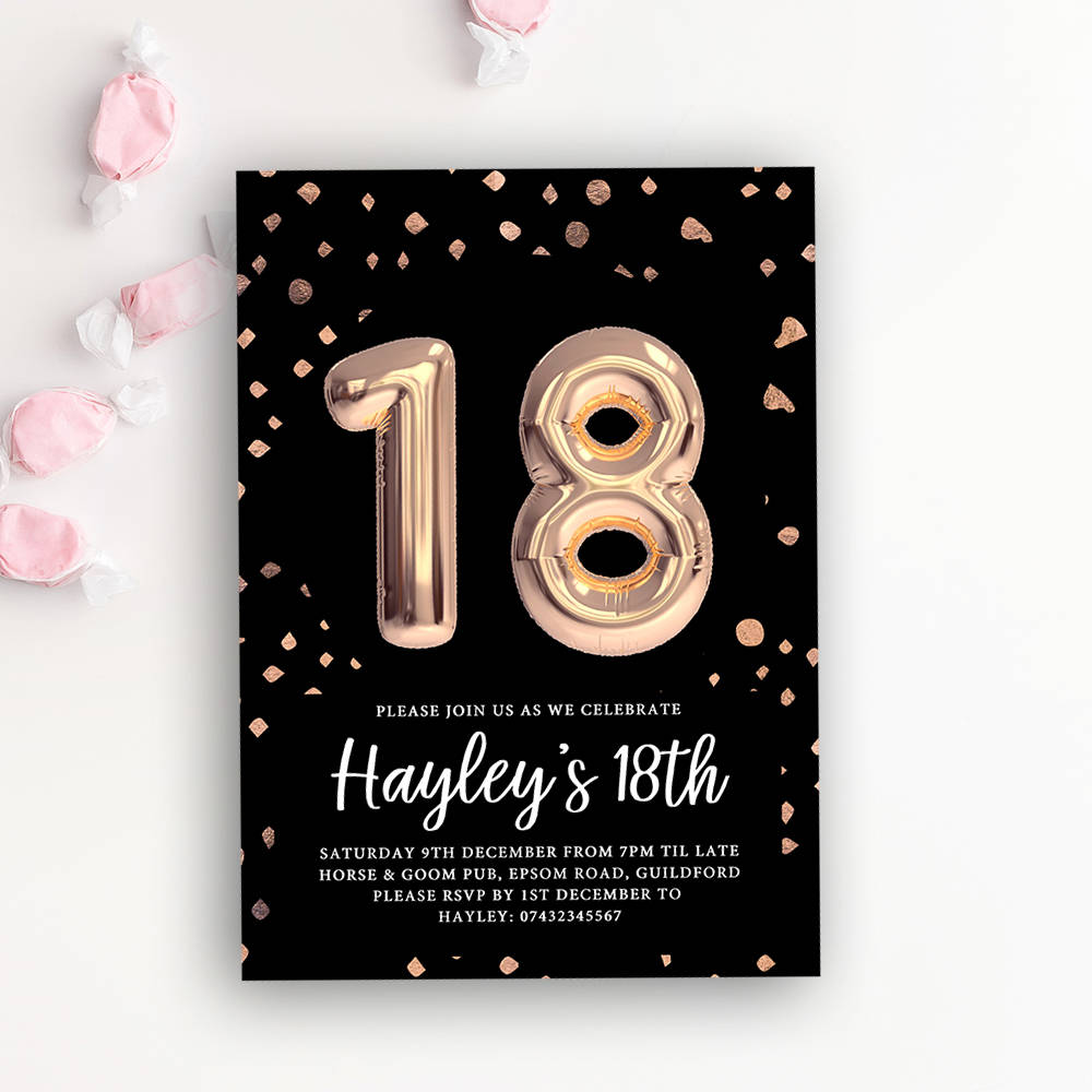 18th Birthday Printable Invitation Rose Gold Balloon