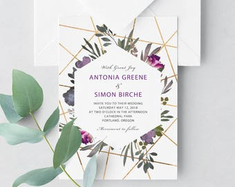 MUTED FLORAL Invitation - Printable- Florals and Gold Geometric Design - Editable Templates - Instant Download by Flamboyant Invites