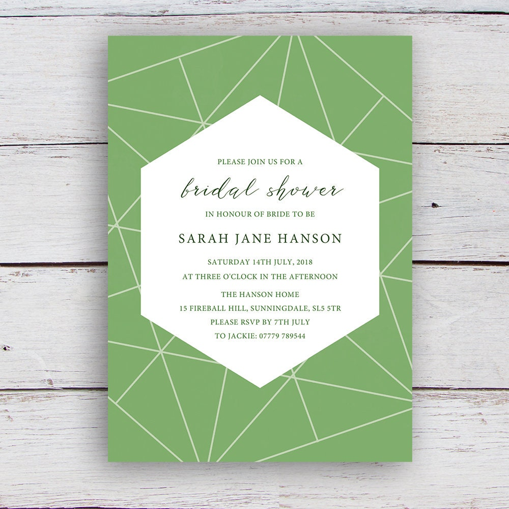 Facets Printable Bridal Shower Invitation with White Geometrics on a ...