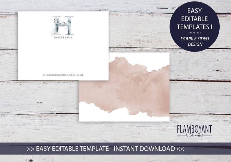 Instant Download Personalised Notes Printable Template Whimsical Monogram H