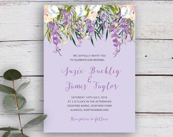 FLORAL CASCADE, DIY Printable Invitation Template, Watercolour Florals & Foliage, Lilac